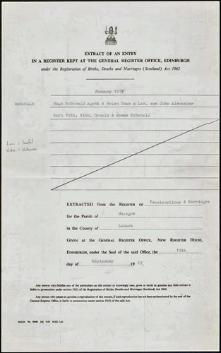 Certificat de naissance de John A. Macdonald