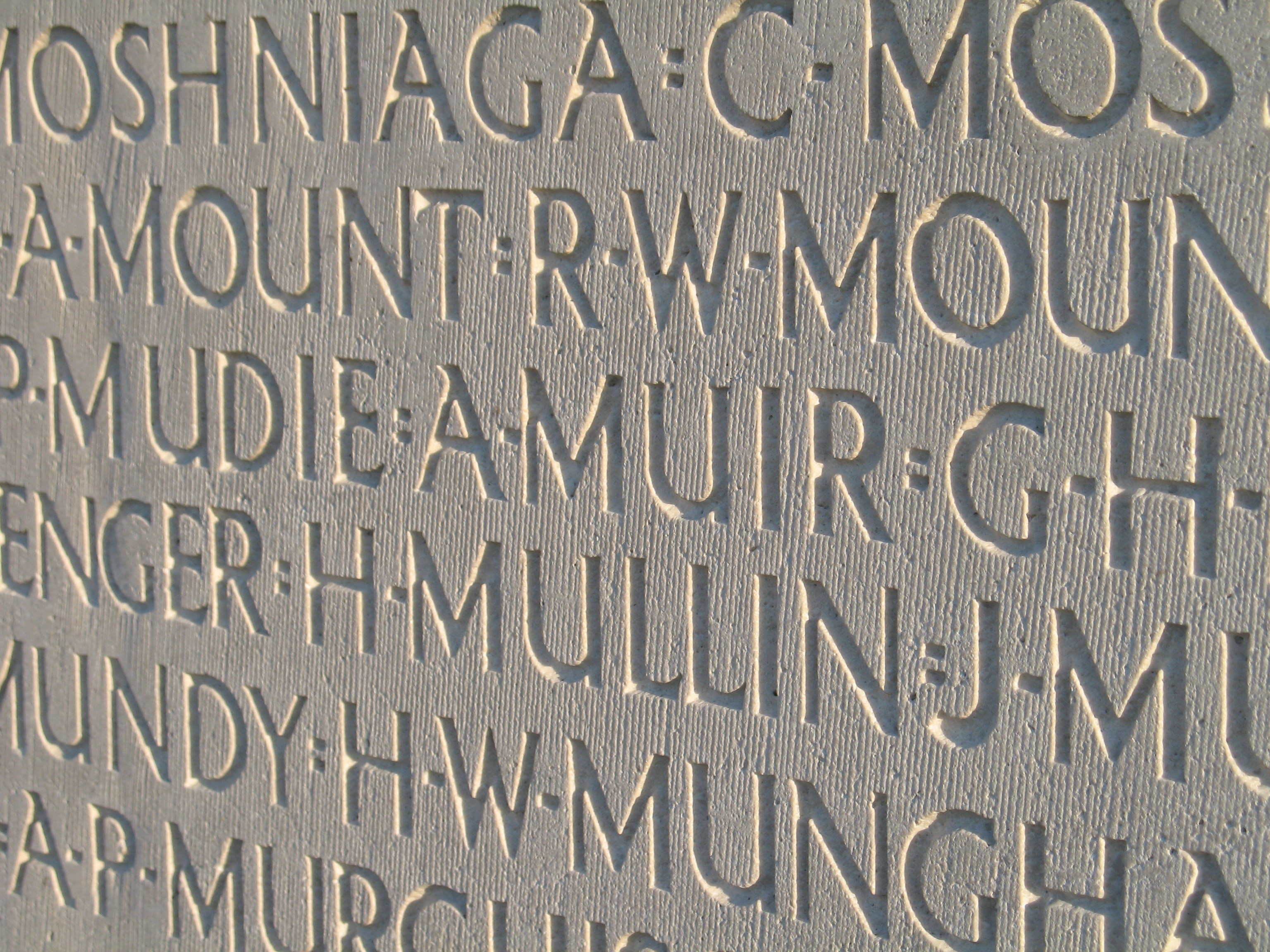 Names on Vimy Monument