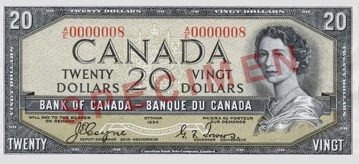 Côté recto du billet de 20 $ (1954\u201369)