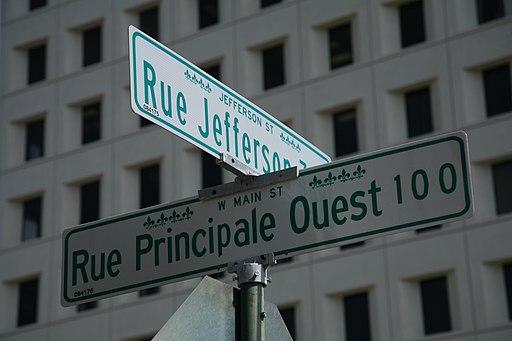 Plaques bilingues de noms de rues à Lafayette, Louisiane