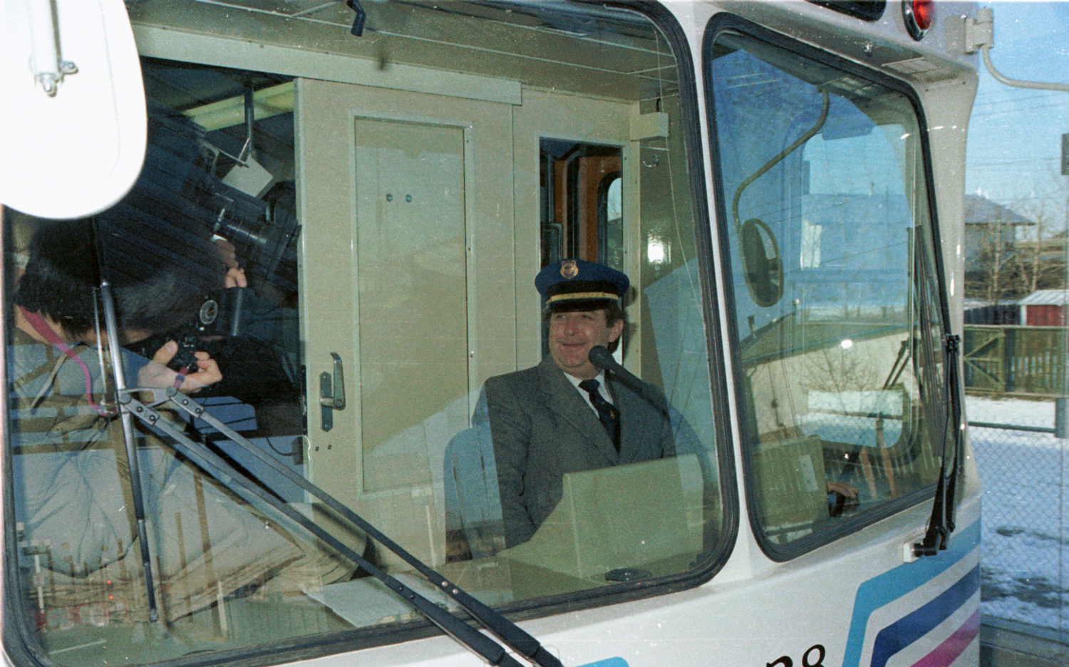 Mayor Ralph Klein driving the CTrain on inauguration day, 25 May 1981
