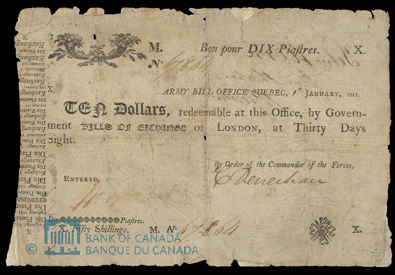 Army Bill Office, 10 Dollar Note