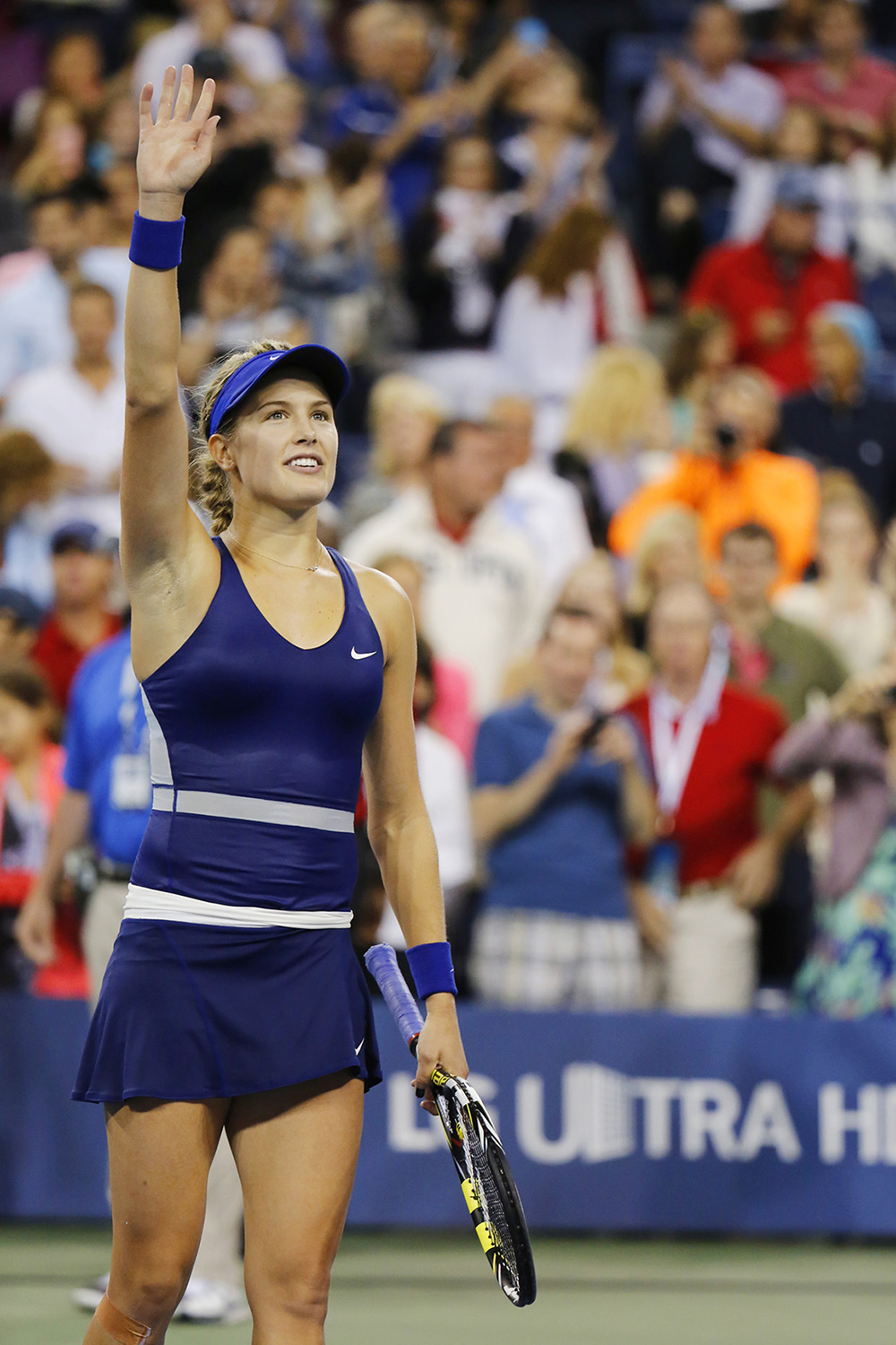 Eugenie Bouchard celebrates victory after third round march at US Open 2014