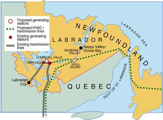 Projets de centrales électriques au Labrador