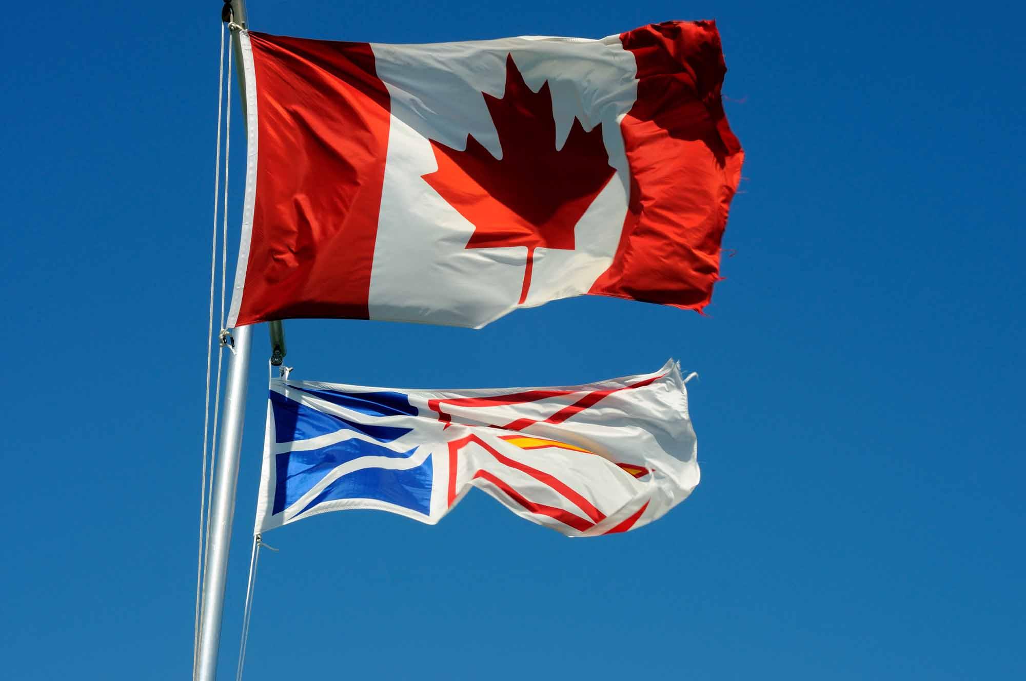 Canadian and Newfoundland & Labrador Flags