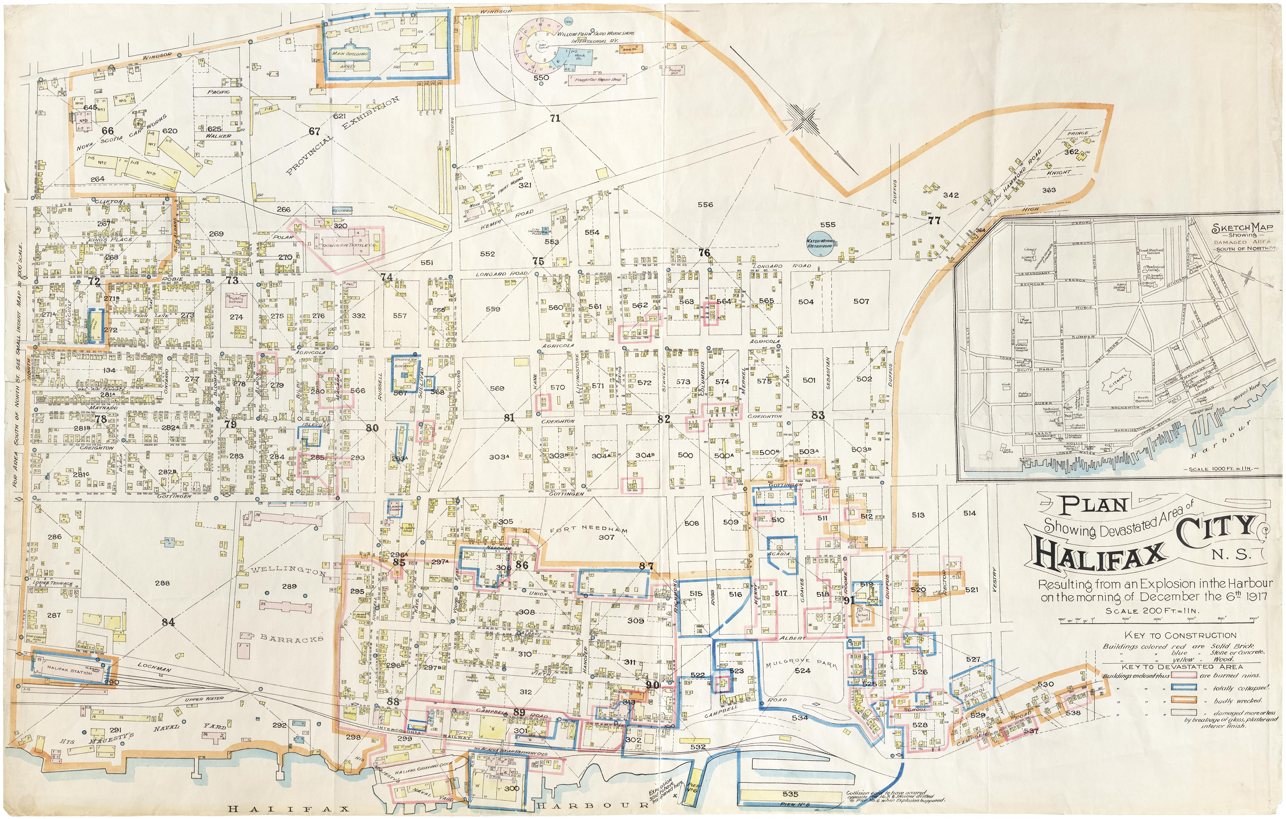 """""""Plan showing devastated area of Halifax City, N.S."""""""