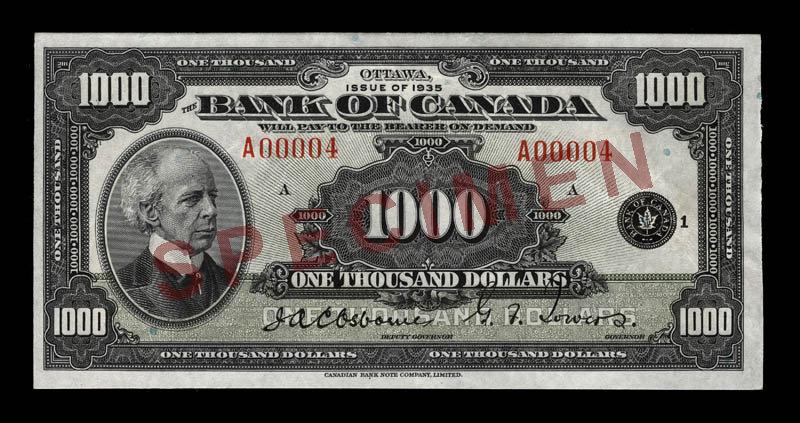 Côté recto du billet de 1 000 $ (1935\u201337)