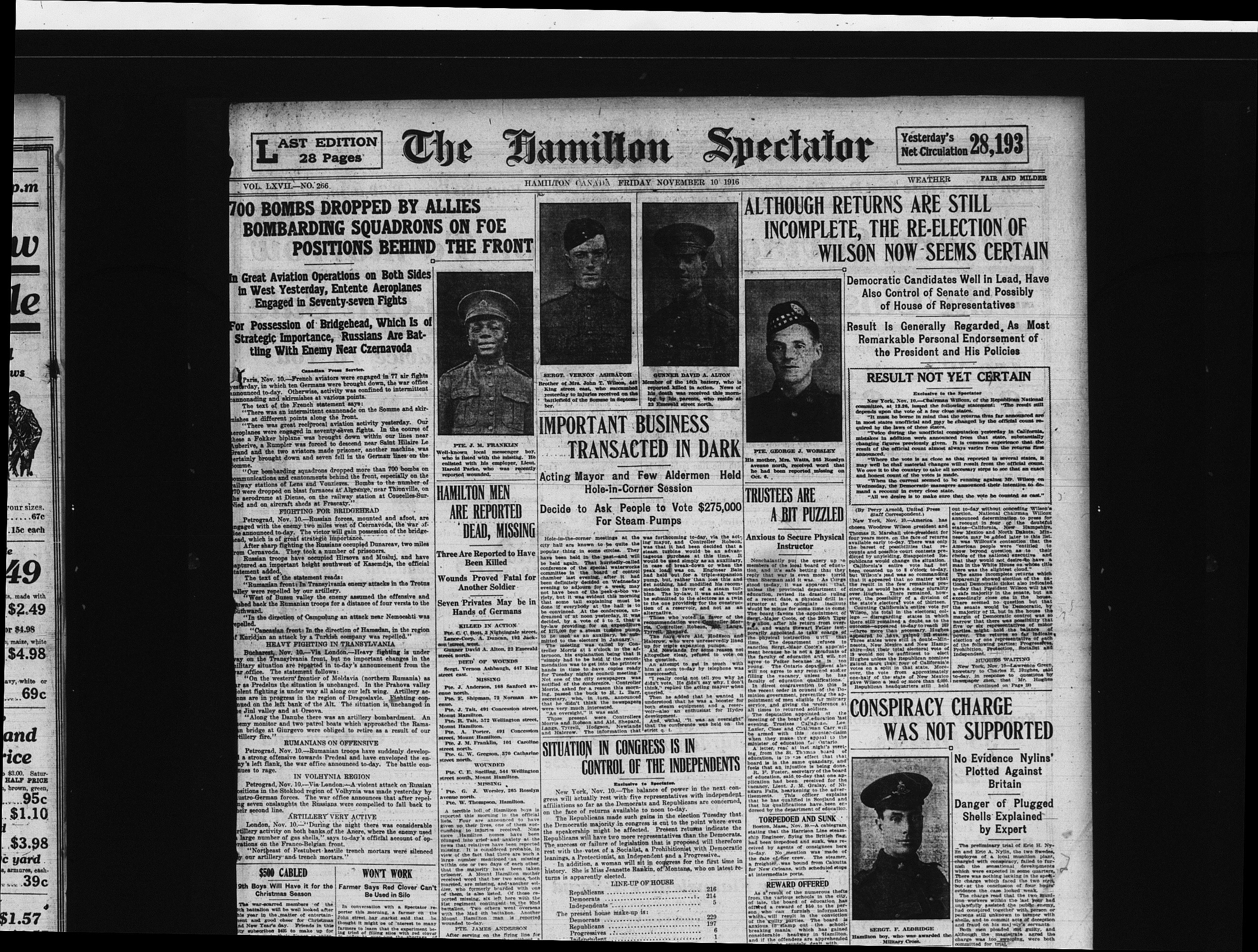 Private J.M. Franklin and Other Hamilton Men Reported Dead or Missing