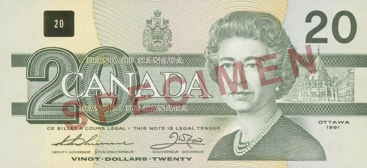 Côté recto du billet de 20 $ (1986\u20132000)