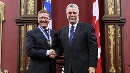 Benoît Pelletier and Quebec Prime Minister Philippe Couillard and