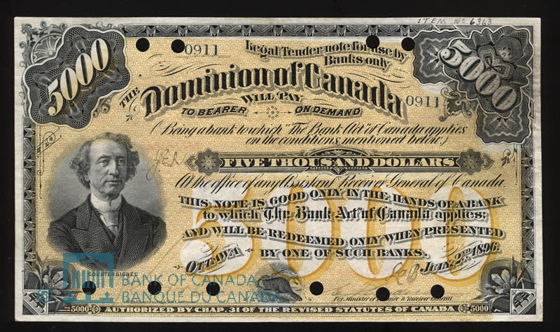 Front of the $5,000 Note (Dominion of Canada)