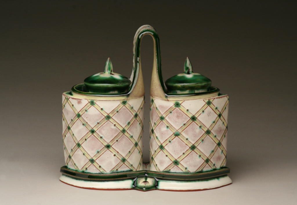 Salt and Pepper Set, Hand-built Earthenware with slip and glazes