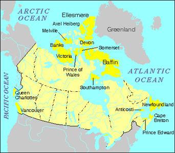 Islands of Canada, Map