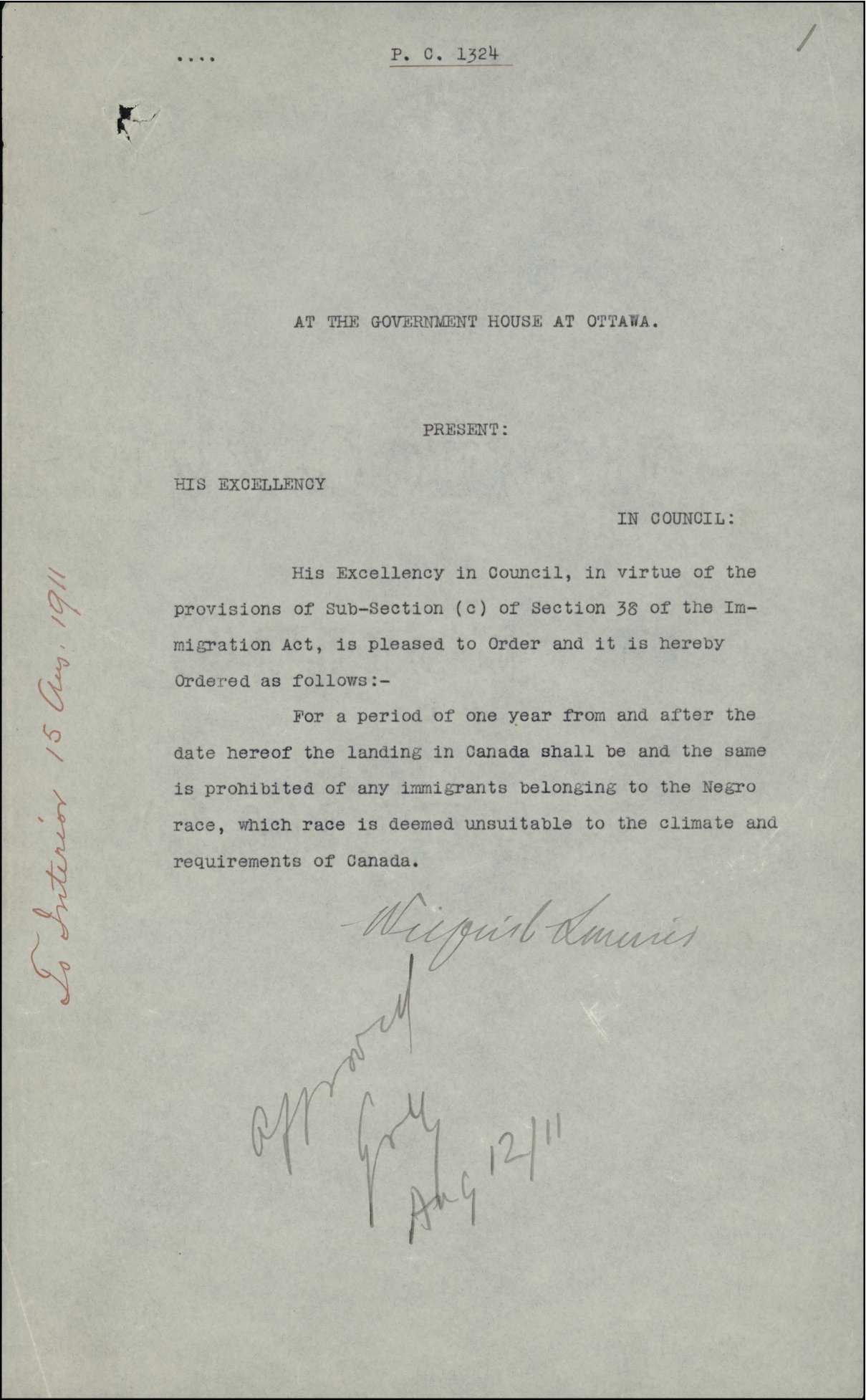 Order-in-Council PC 1911-1324, 12 August 1911