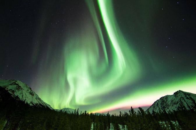 The northern lights in the Yukon Territory.