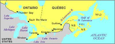 Saint-Laurent, carte de la voie maritime du