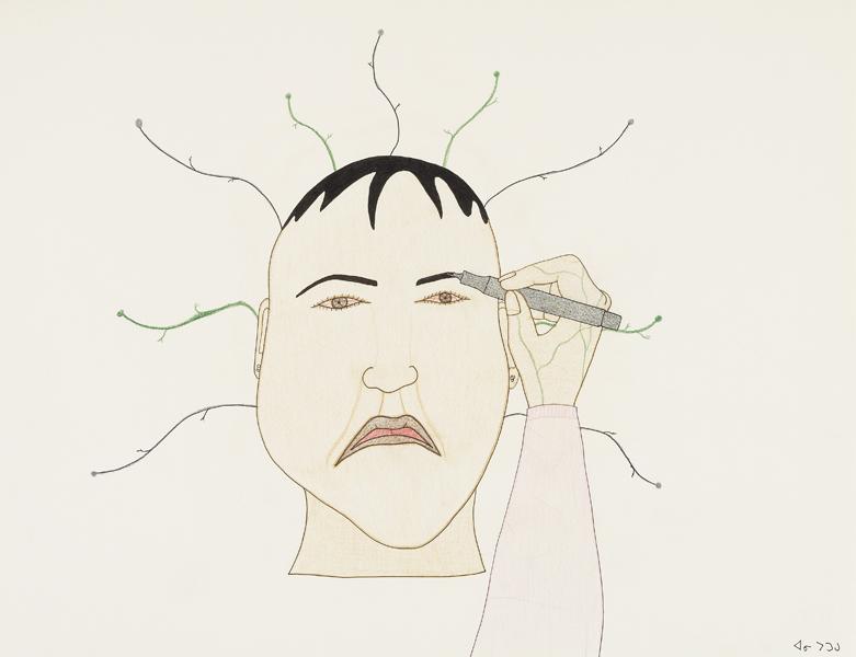 Annie Pootoogook Sourcil fait avec un Fine Liner, 2001-2002.