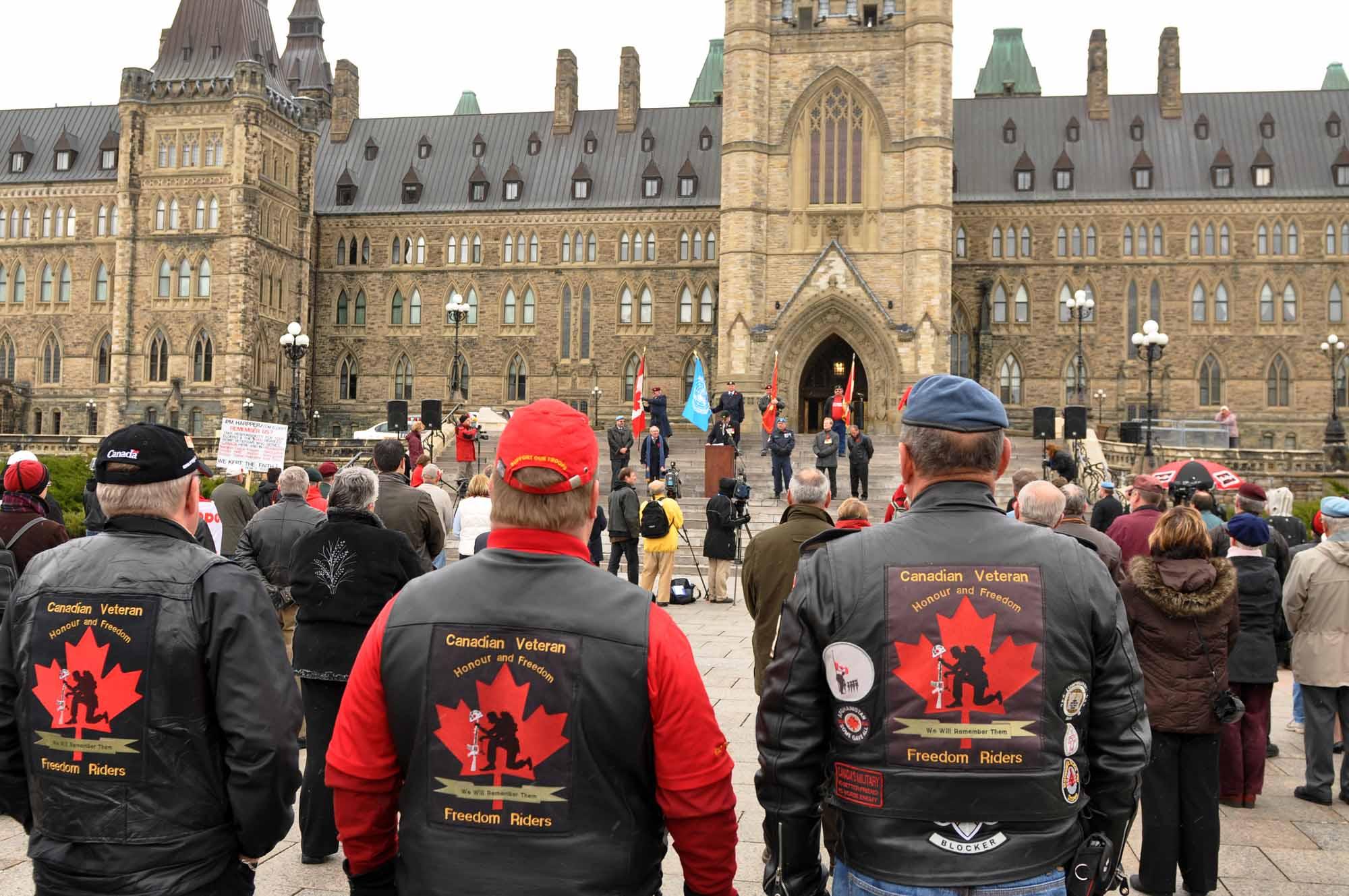 Protestation des anciens combattants sur la Colline du Parlement