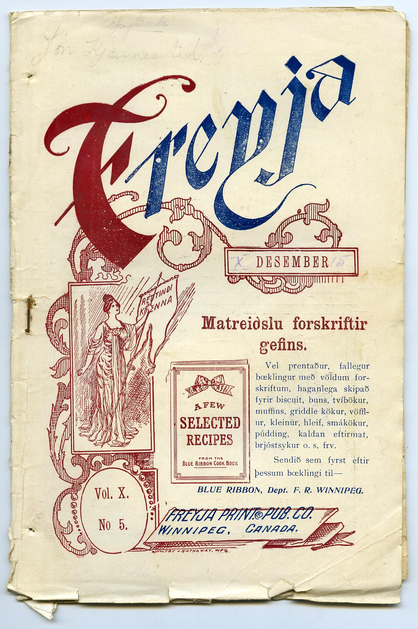 January 1907 Issue of Freyja, Suffragist Monthly Magazine