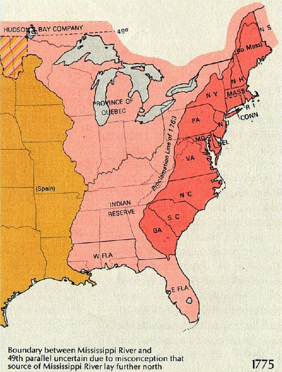 Thirteen Colonies, 1775