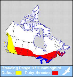 Rufous & Ruby-throated Hummingbird Distribution