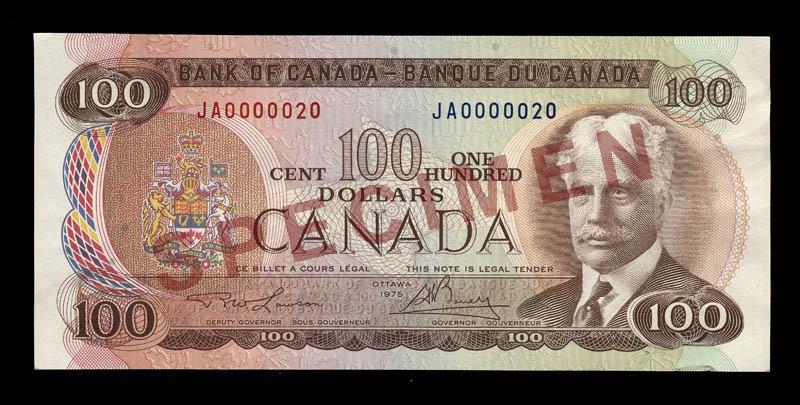 Côté recto du billet de 100 $ (1969\u201379)