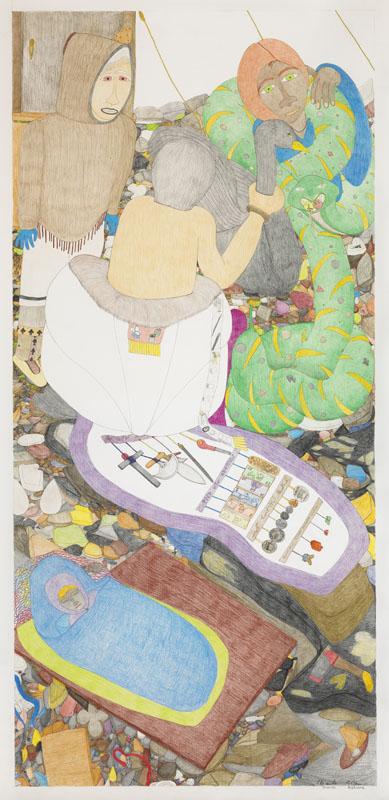 Shuvinai Ashoona, Untitled (Eden), 2008, coloured pencil, black felt pen, and graphite on wove paper, 237 x 116.5 cm.