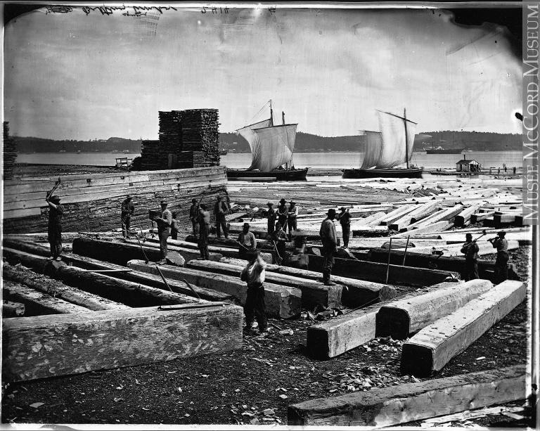 Travail avec le bois dans la ville de Québec, en 1872.