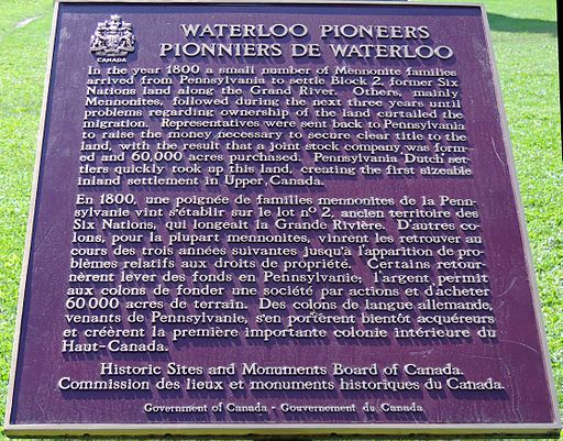 Hommages aux familles pionnières mennonites de Waterloo