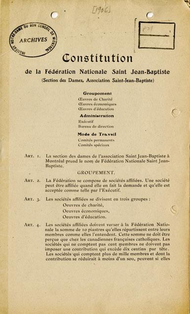 Constitution de la Fédération Nationale Saint-Jean-Baptiste, 1906