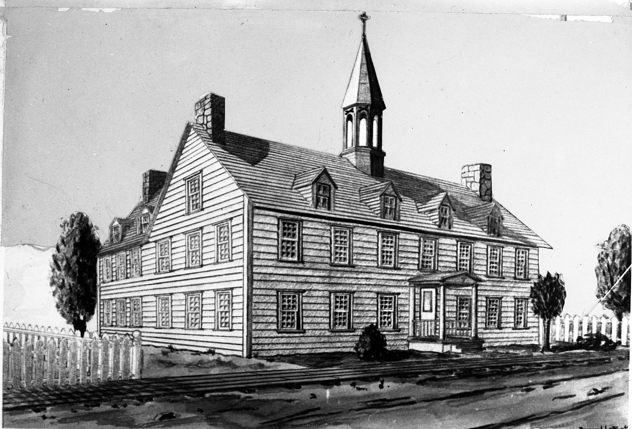 Drawing representing the first building of Bytown College, circa 1848