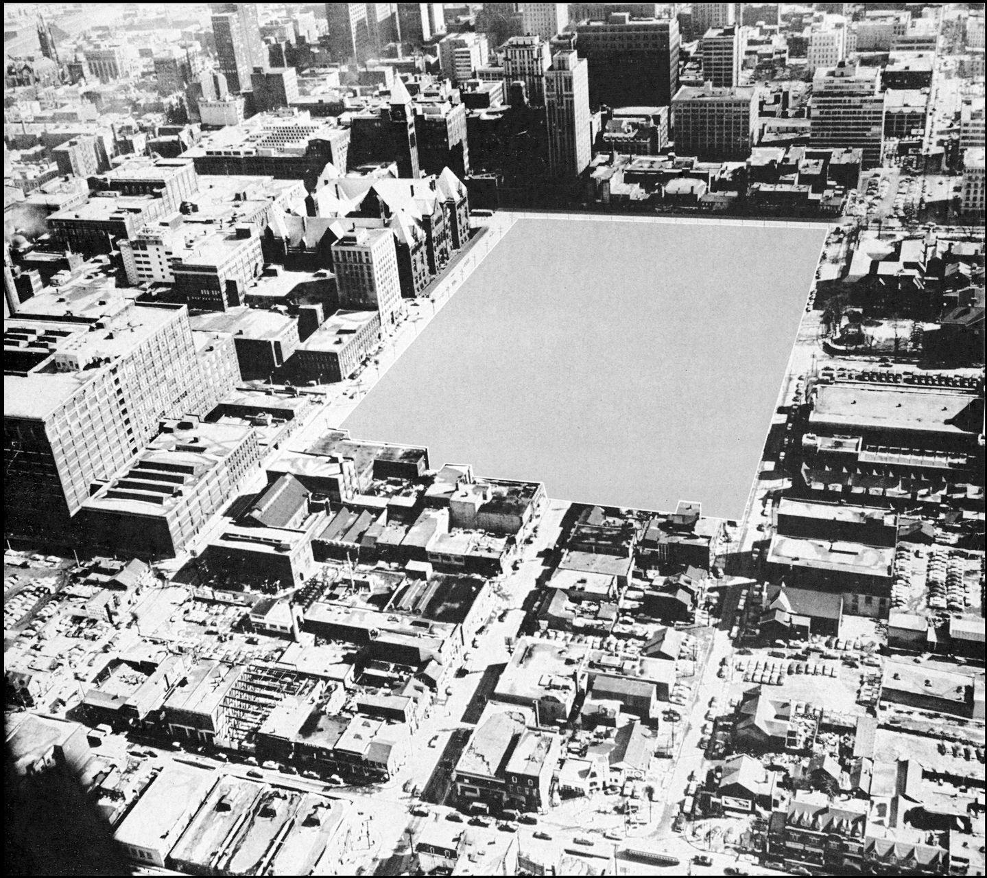 Terrain exproprié pour la construction du nouvel hôtel de ville et de la nouvelle place publique