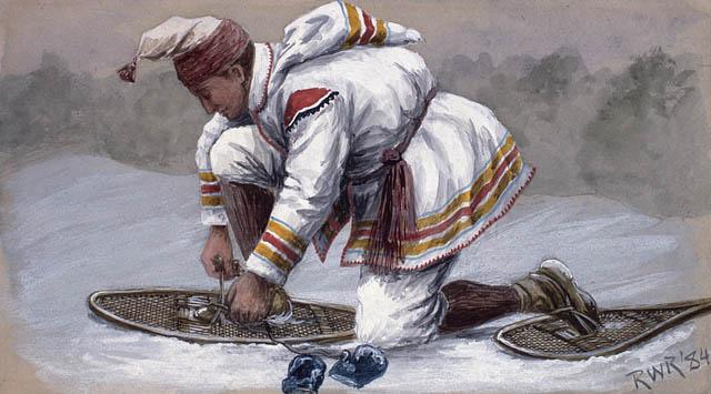 Homme attachant ses raquettes (1884)