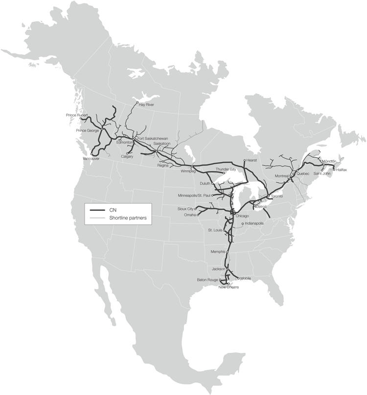 Map of the CN Rail Network