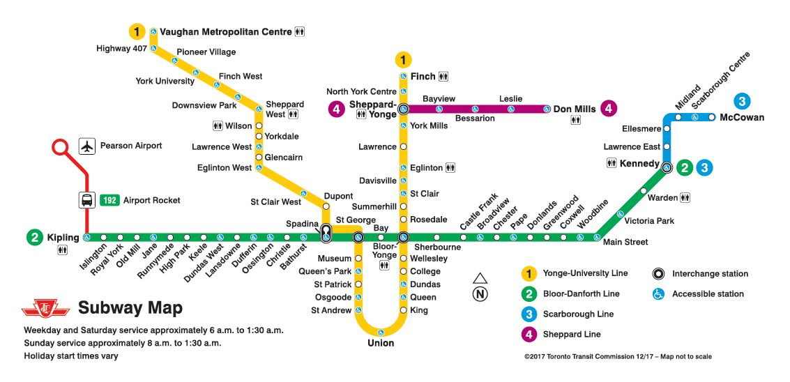 Carte du réseau du métro de Toronto, 2017