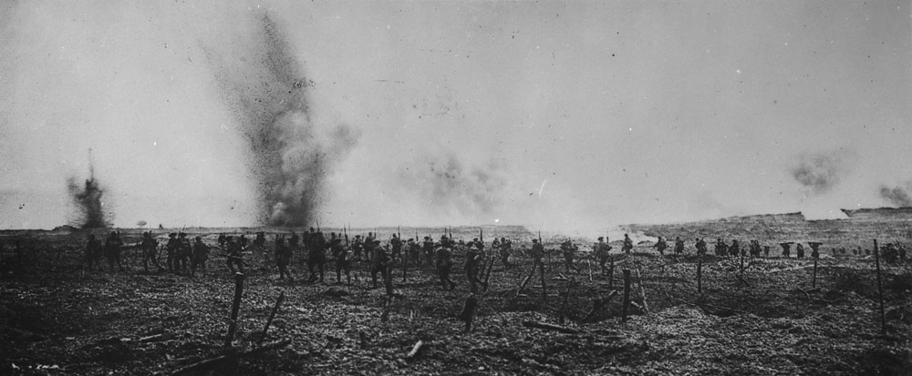 Canadian soldiers at Vimy in German wire entanglements