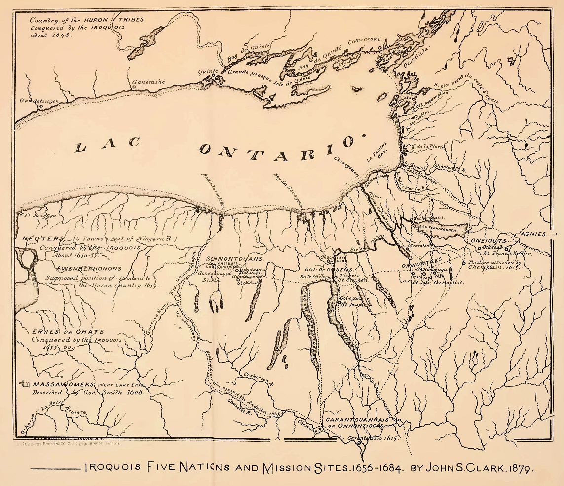 Map of Iroquois Five Nations and Mission Sites, 1656-1684