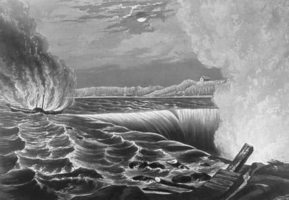 Caroline Descending Niagara Falls
