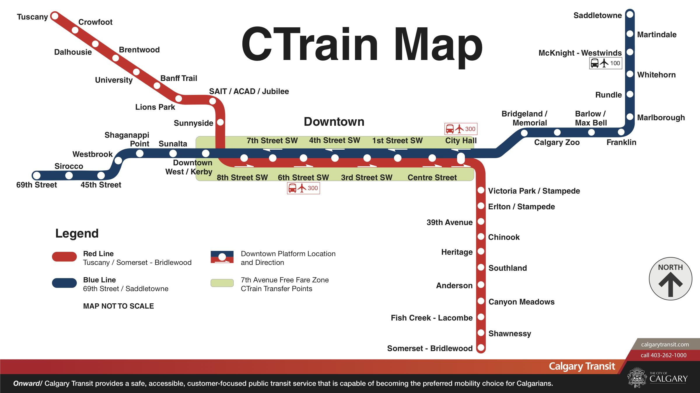 Carte du réseau du CTrain, Calgary, Alberta