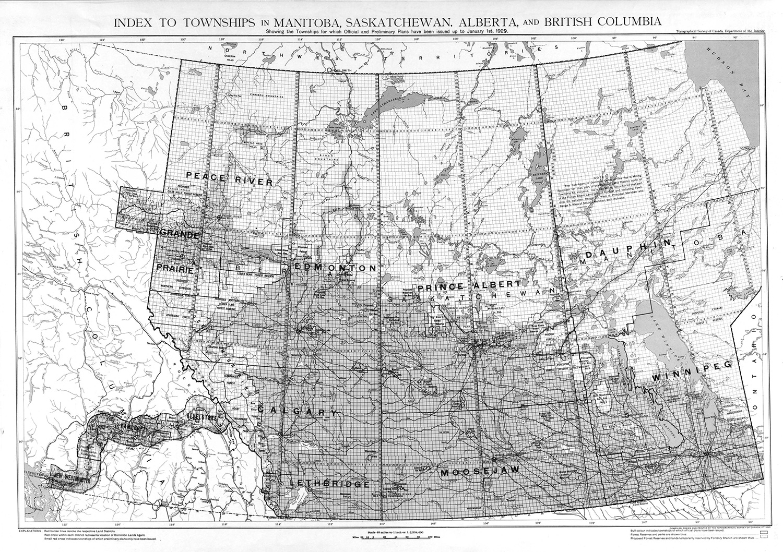 Townships in Manitoba, Saskatchewan, Alberta and British Columbia