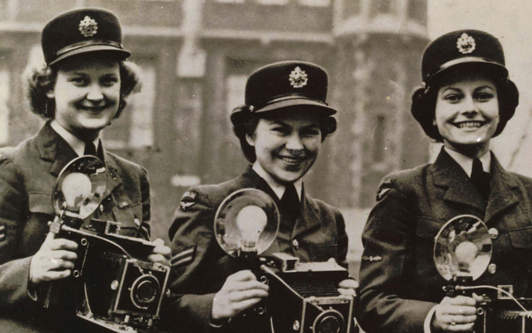 Patricia Collins (née Holden) was one of three press photographers working in the Public Relations Department of Lincoln's Inn Fields, London, England, 1944.