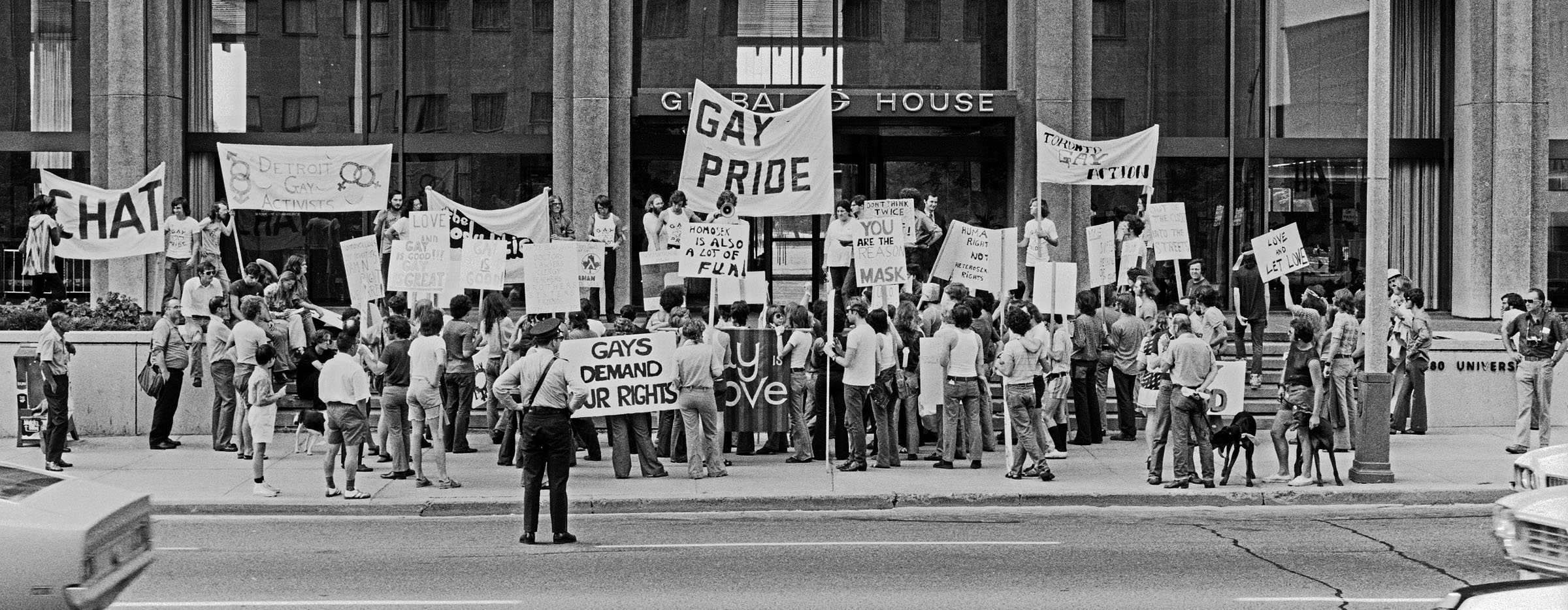 Pride March on University Ave in Toronto, 1972.