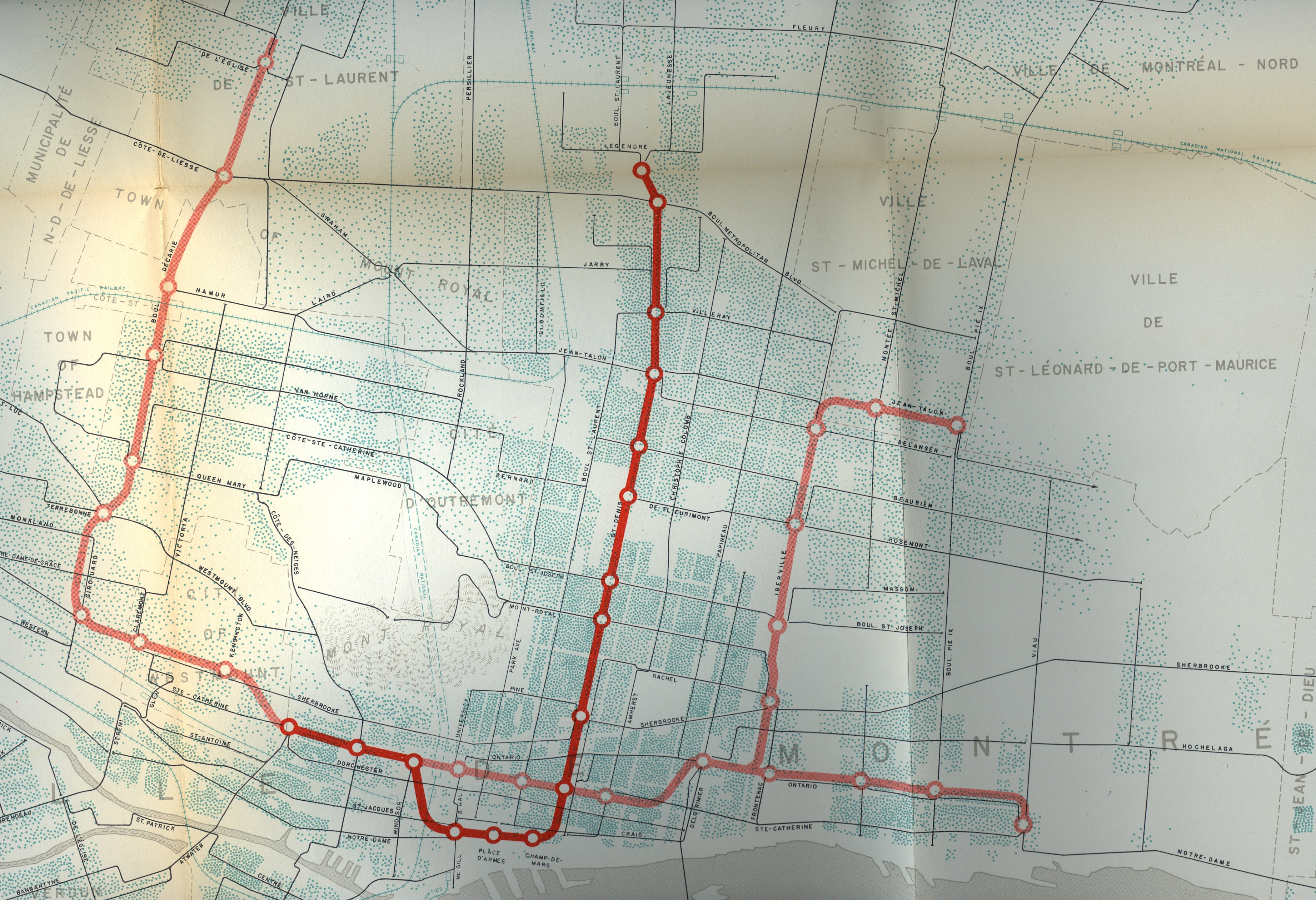 Métro de Montréal, tracé proposé, 1953