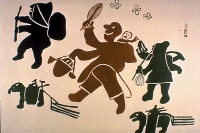 Pitseolak Ashoona, Joys of Summer Inland,  47.5 x 60.5 cm, 1960.