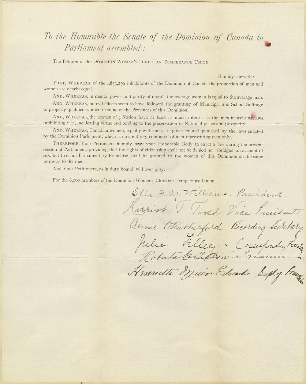 Pétition pour le droit de vote remise au Sénat