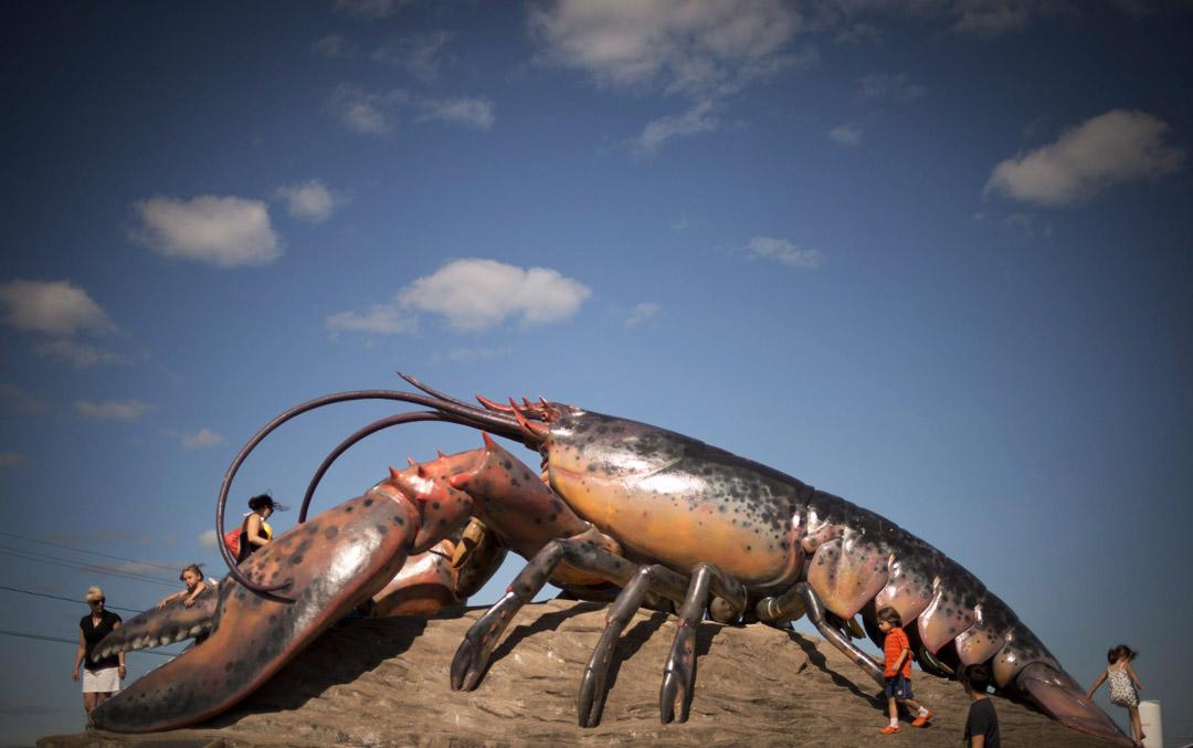 A giant lobster statue in Shediac, New Brunswick.