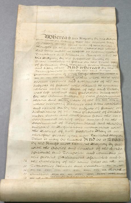 L'Acte de Québec, 1774