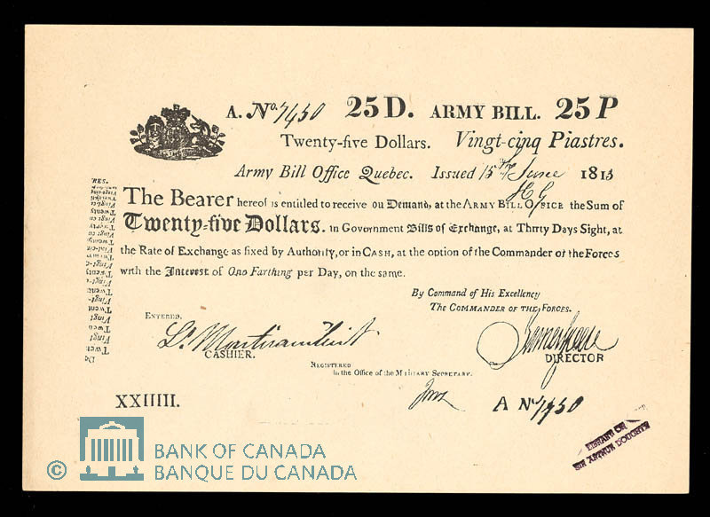 Army Bill Office 25 Dollar Note