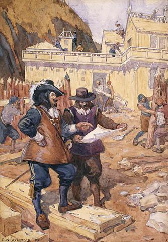 Samuel de Champlain supervise la construction de son habitation de Québec, 1608