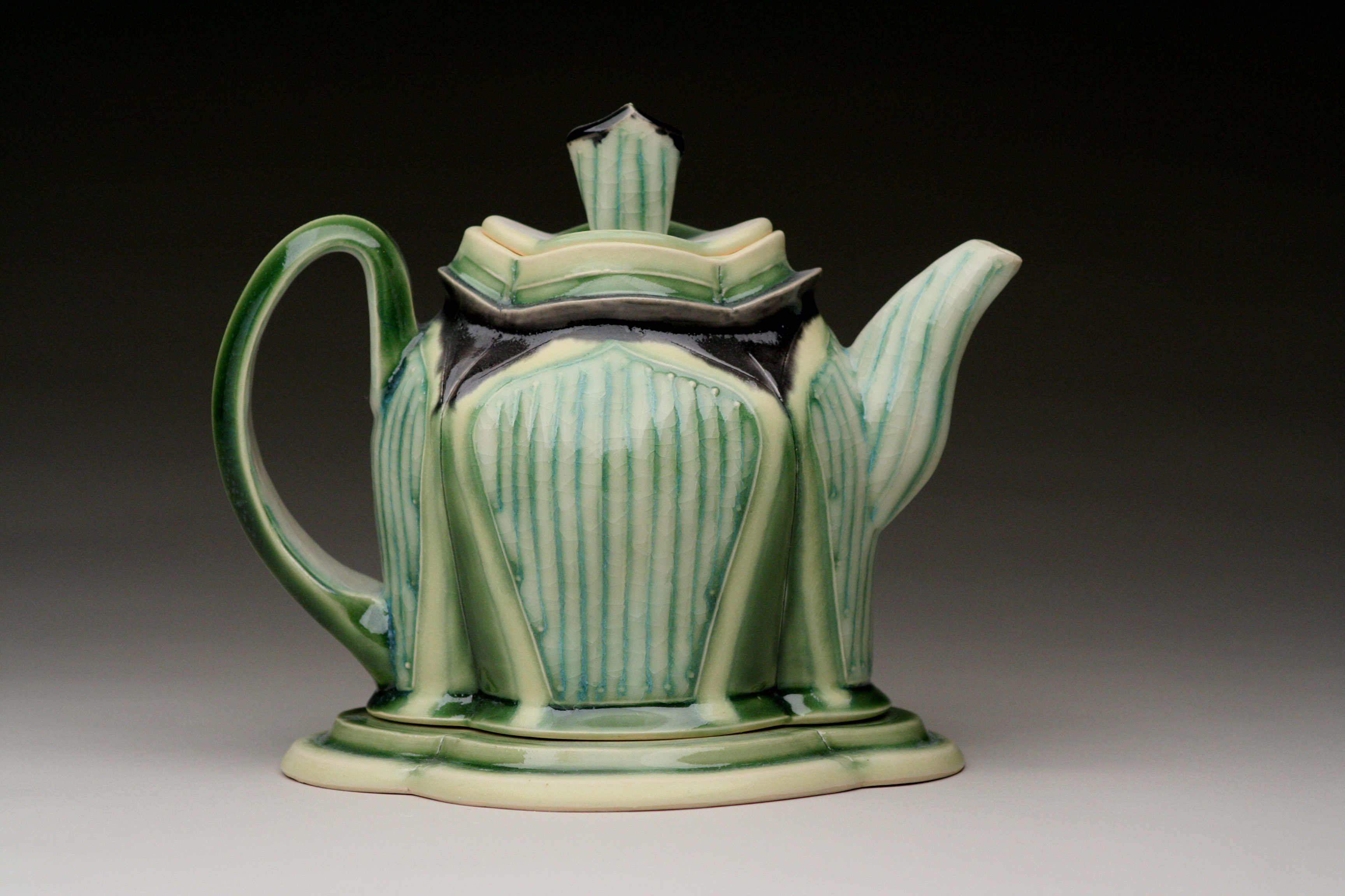Teapot with Trivet, Hand-built white Stoneware with glazes